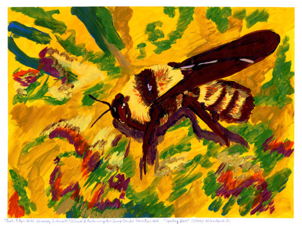 """Spelling Bee"" by Mike Harris, Jr, a bright yellow image of a bumblebee with electric red, green and blue shapes behind it"